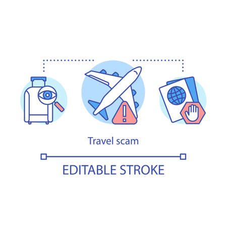 Travel scam icon. Airport fraud incident idea thin line illustration. Fake flight tickets. Stealing passport, luggage, goods. Fake touristic agencies. Vector isolated outline drawing. Editable stroke