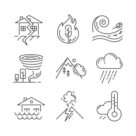 Natural disaster linear icons set. Wildfire, earthquake, tornado, avalanche. Geological and atmospheric catastrophes. Thin line contour symbols. Isolated vector outline illustrations. Editable stroke