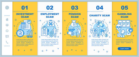 Scam types onboarding mobile web pages vector template. Responsive smartphone website interface idea with linear illustrations. Investment scam. Webpage walkthrough step screens. Color concept