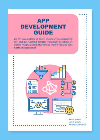 App development guide poster template layout. Software framework studying. Banner, booklet, leaflet print design with linear icons. Vector brochure page layout for magazines, advertising flyers
