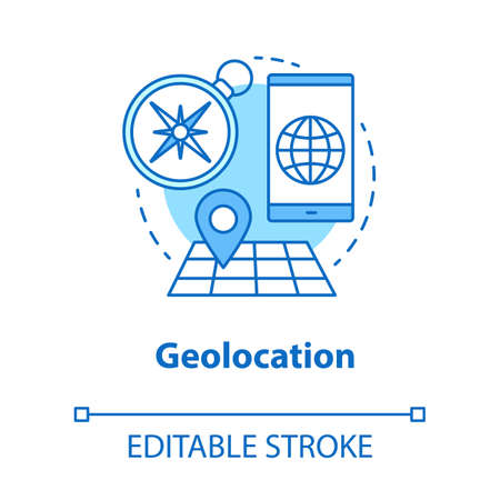 Geolocation concept icon. GPS navigation idea thin line illustration. Search route, choose travel destination. Map with geotag. Navigator app. Vector isolated outline drawing. Editable stroke 向量圖像