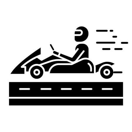 Icono de glifo de carreras de karts. Hombre en vehículo de karting en pista. Deporte de motor de ruedas abiertas. Karting recreativo. Deporte extremo. Símbolo de silueta. Espacio negativo. Vector ilustración aislada
