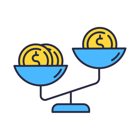 Compare price color icon. Gold coins on blue scales. Product value comparison. Budget and saving money. Financial expenses planning. Earning and spending. Isolated vector illustration Vektoros illusztráció