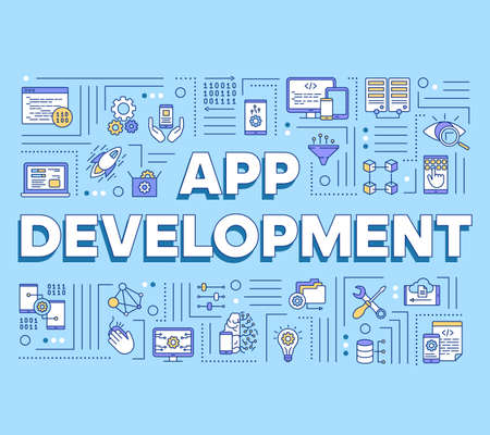 App development word concepts banner. Mobile software coding. Computer programming language. Presentation, website. Isolated lettering typography idea with linear icons. Vector outline illustration