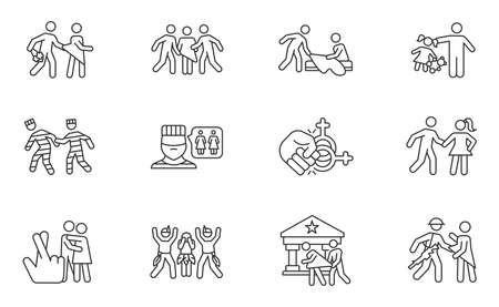 Different rape types linear icons set. Date, statutory, children, spousal rape. Abuse in prison. Sexual harassment. Thin line contour symbols. Isolated vector outline illustrations. Editable stroke