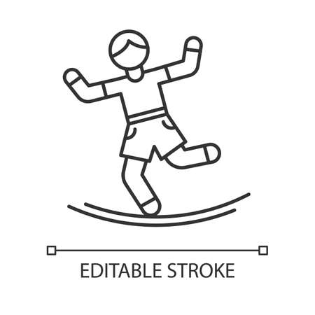 Slacklining linear icon. Balance training. Slackrope, tightrope walking. Person balancing on suspended webbing. Thin line illustration. Contour symbol. Vector isolated outline drawing. Editable stroke