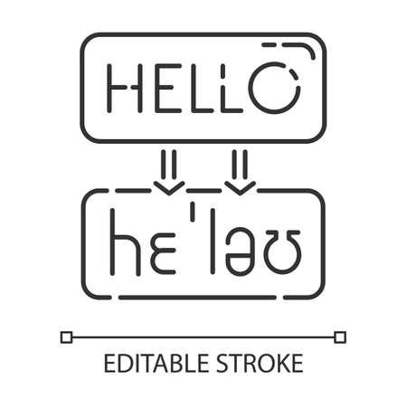 Language translation services linear icon. Machine transcription. Online dictionary. Word sound representation. Thin line illustration. Contour symbol. Vector isolated outline drawing. Editable stroke Ilustración de vector