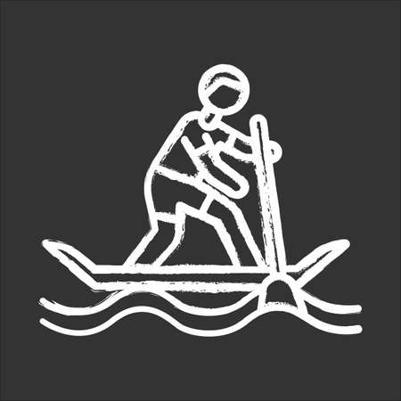 Paddle surfing chalk icon. Sup boarding watersport, extreme underwater kind of sport.Recreational outdoor activity and hobby. Risky and adventurous leisure. Isolated vector chalkboard illustration