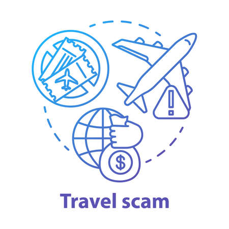 Travel scam concept icon. Journey dangers. Fake tourist tour winning. Financial fraud. Hidden costs in cheap trip idea thin line illustration. Vector isolated outline drawing