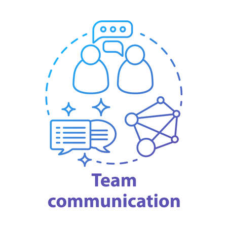 Team communication blue gradient concept icon. Teamwork idea thin line illustration. Exchanging information. Networking. Talking to each other. Online chatting. Vector isolated outline drawing.