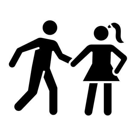 Date rape glyph icon. Women abuse, violent behavior. Sexual harassment of females. Victim of assault. Sexual activity without consent. Silhouette symbol. Negative space. Vector isolated illustration
