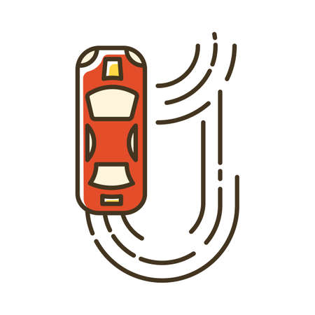 Auto racing color icon. Two-seater vehicle on circuit track. Automobile drift. Sliding motorcar. Production car race. Extreme sport. Isolated vector illustration