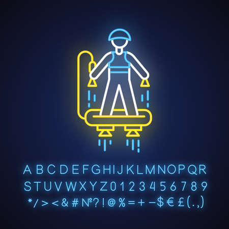 Flyboarding neon light icon. Watersports, extreme and dangerous modern summer beach leisure.Hydroflight sport. Glowing sign with alphabet, numbers and symbols. Vector isolated illustration