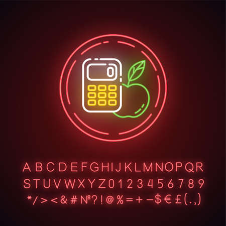 Calorie free neon light icon. Low calories snacks for weight loss. Fresh food. Product free ingredient. Nutritious fruits. Glowing sign with alphabet, numbers and symbols. Vector isolated illustration