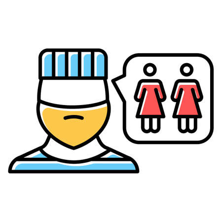 Corrective rape color icon. Custodial woman abuse in institutions. Rape as punishment for gender identity, orientation. Sexual harassment of females, lesbians. Isolated vector illustration Çizim