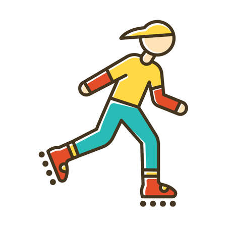 Inline skating color icon. Freestyle rollerblading. Fitness skating.