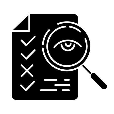 Professional proofreading service glyph icon. Text editing, mistake correction. Document quality control. Magnifier with list points. Silhouette symbol. Negative space. Vector isolated illustration