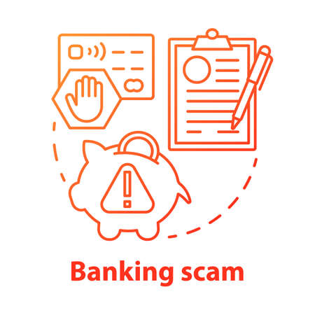 Banking scam concept icon. Credit card and online account fraud. Bank swindle. Cash protection agreement idea thin line illustration. Vector isolated outline drawing