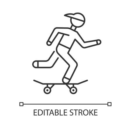 Skateboarding linear icon. Street culture. Skater riding board. Skating guy. Person performing stunts. Thin line illustration. Contour symbol. Vector isolated outline drawing. Editable stroke 向量圖像