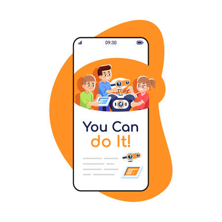 You can do it social media posts smartphone app screen. Mobile phone displays with cartoon characters design mockup. Assembly, programming robot guide application for kids telephone interface