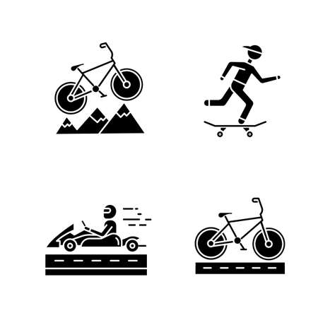Extreme sports glyph icons set. Mountain cycling. Cross-country, downhill biking. Skateboarding. Karting, open-wheel motorsport. Bicycle racing. Silhouette symbols. Vector isolated illustration