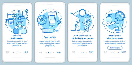 Safe sex onboarding mobile app page screen with linear concepts. Four walkthrough steps graphic instructions. Self-examination of body for rashes. UX, UI, GUI vector template with illustrations Illustration