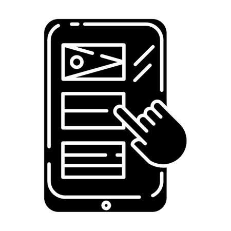 Language translation service glyph icon. Online multilingual dictionary. Instant machine interpretation. Smartphone, tablet translator. Silhouette symbol. Negative space. Vector isolated illustration Illustration