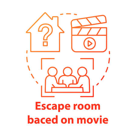 Escape room based on movies red gradient concept icon. Film theme quest idea thin line illustration. Strategy teamwork game. Team solving problem. Vector isolated outline drawing 일러스트