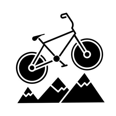 Mountain cycling glyph icon. Cross-country, downhill biking. Outdoor sporting activity. Riding over rough terrain. Extreme sport. Silhouette symbol. Negative space. Vector isolated illustration