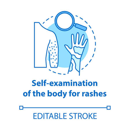 Body self-examination concept icon. Rash, eczema symptoms, signs. Inflammation on skin. Safe sex. Dermatology idea idea thin line illustration. Vector isolated outline drawing. Editable stroke