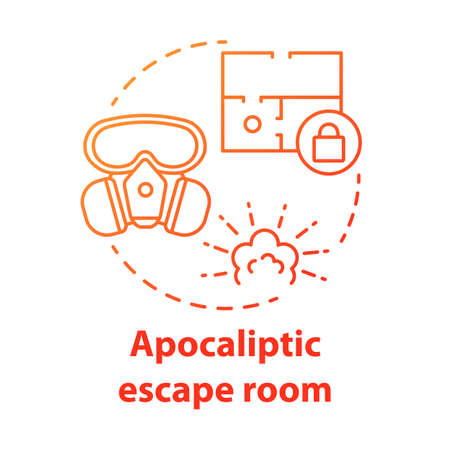 Apocalyptic escape room red concept icon. Disaster theme quest idea thin line illustration. Nuclear war strategy game. Post apocalyptic survival. Vector isolated outline drawing