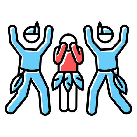 Ceremonial rape blue color icon. Women abuse, violent behavior. Payback rape in tribal customs and culture. Sexual harassment of females. Victim of assault. Isolated vector illustration