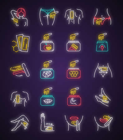 Waxing neon light icons set. Female, male hair removal procedure. Cold, hot wax in jar with spatula. Depilation equipment. Professional cosmetics. Glowing signs. Vector isolated illustrations Stock Illustratie