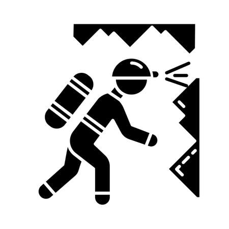 Spelunking glyph icon. Caving, potholing. Exploring underground caverns. Equipped spelunker, caver. Walking, climbing in caves. Silhouette symbol. Negative space. Vector isolated illustration
