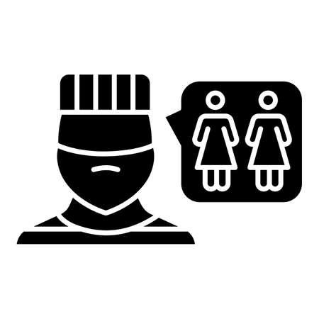 Corrective rape glyph icon. Custodial woman abuse in institutions. Rape as punishment for gender identity. Sexual harassment of females. Silhouette symbol. Negative space. Vector isolated illustration
