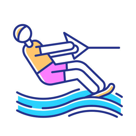 Water skiing color icon. Surface watersport. Summer leisure and dangerous hobby. Extreme kind of sport. Recreational outdoor activity. Man wakeboarding. Isolated vector illustration