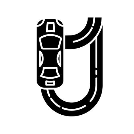 Auto racing glyph icon. Two-seater vehicle on circuit track. Automobile drift. Sliding motorcar. Production car race. Extreme sport. Silhouette symbol. Negative space. Vector isolated illustration