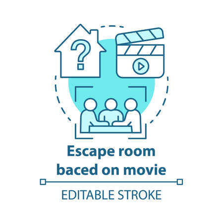 Escape room based on movies concept icon. Film theme quest idea thin line illustration. Strategy teamwork game. Team solving problem. Vector isolated outline drawing. Editable stroke
