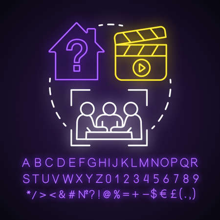 Escape room based on movie neon light concept icon. Film quest idea. Solving puzzle, riddle. Cinematography theme. Glowing sign with alphabet, numbers and symbols. Vector isolated illustration