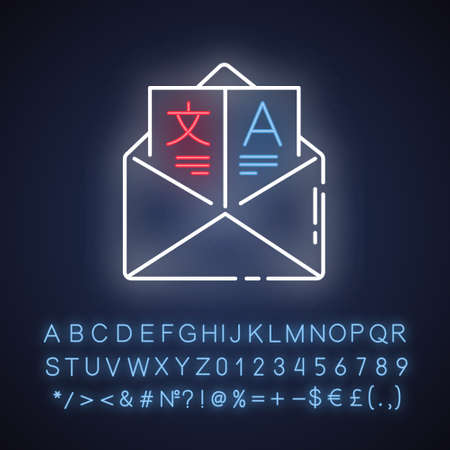 Language translation services neon light icon. International communication. Message interpretation. Email translation. Glowing sign with alphabet, numbers and symbols. Vector isolated illustration
