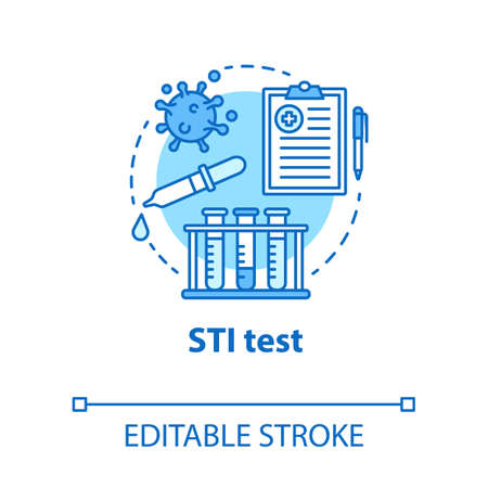 STI test concept icon. Safe sex. HIV, hepatitis prevention. Pharmaceutical research. Male, female healthcare idea thin line illustration. Vector isolated outline drawing. Editable stroke