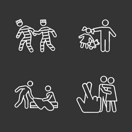 Different rape types chalk icons set. Prison, statutory, children and spousal rape. Sexual harassment of child, woman. Female victims of sexual assault. Isolated vector chalkboard illustrations