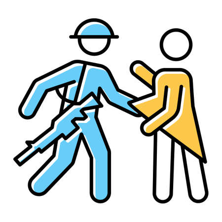War rape blue, yellow color icon. Women abuse, violent behavior of a soldier. Sexual harassment by military forces, armies. Assault of females by troops. Isolated vector illustration