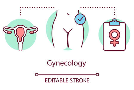 Gynecology concept icon. Gynaecologist idea thin line illustration. Women healthcare, female reproductive system, fertility. Screening, exam. Vector isolated outline drawing. Editable stroke