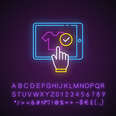 Choose product online neon light icon. Buying clothes in internet store. E commerce client purchasing goods. Glowing sign with alphabet, numbers and symbols. Vector isolated illustration