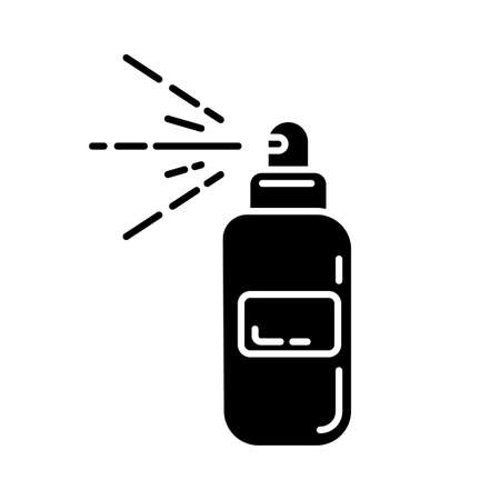 Body spray bottle glyph icon. Depilation, waxing aftercare moisturizing product. Professional beauty treatment cosmetics. Silhouette symbol. Negative space. Vector isolated illustration Illusztráció