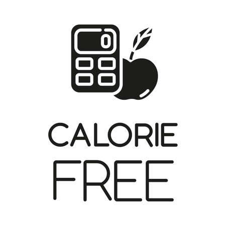 Calorie free glyph icon. Low calories snacks for weight loss. Product free ingredient. Fresh organic food. Nutritious fruits. Silhouette symbol. Negative space. Vector isolated illustration