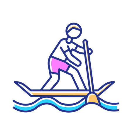 Paddle surfing color icon. Sup boarding watersport, extreme underwater kind of sport. Recreational outdoor activity and hobby. Risky and adventurous leisure. Isolated vector illustration Vectores