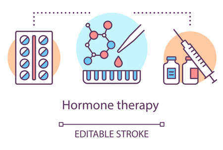 Hormone therapy concept icon. Medical treatment idea thin line illustration. Medicine, pills, medication. Birth control, menopause, cancer. Vector isolated outline drawing. Editable stroke