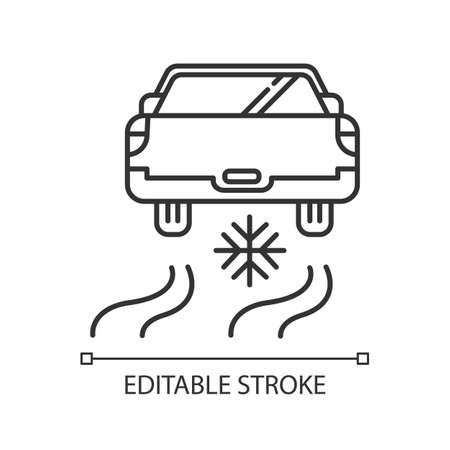 Ice driving linear icon. Winter extreme sport, risky activity and adventure. Thin line illustration. Automobile riding on snow covered surface. Vector isolated outline drawing. Editable stroke